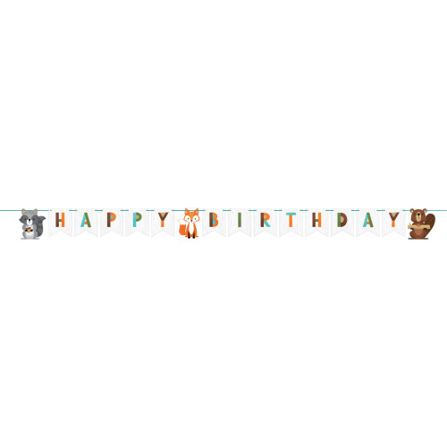 """Club Pack of 12 White and Green Woodland Animals """"HAPPY BIRTHDAY"""" Party Banners 99.5"""" - IMAGE 1"""