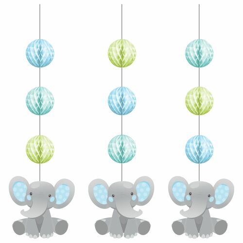 """Club Pack of 36 Gray Boy Enchanting Elephants Hanging Tissue Paper Fan Party Decorations 32"""" - IMAGE 1"""