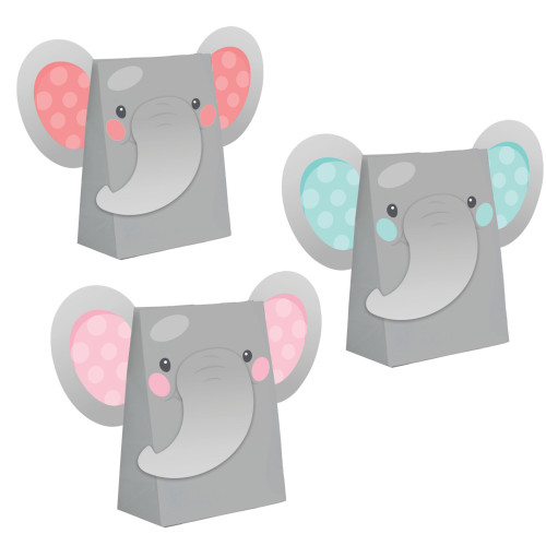 """Club Pack of 96 Gray and Pink Elephants Girl Treat Bags 7.25"""" - IMAGE 1"""