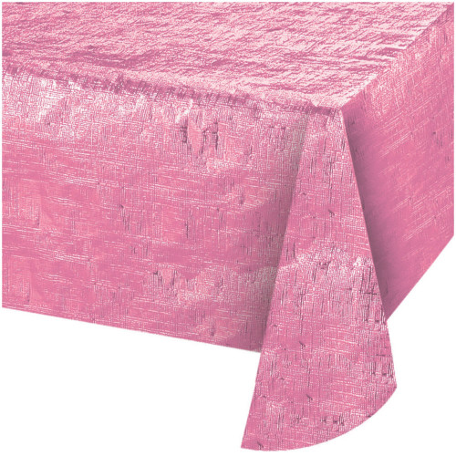 """Club Pack of 12 Opalescent Candy Pink Party Tablecloths 54"""" x 108"""" - IMAGE 1"""