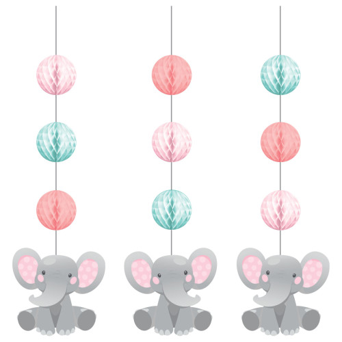 "Club Pack of 36 Gray Girl Enchanting Elephants Hanging Tissue Paper Fan Party Decorations 32"" - IMAGE 1"