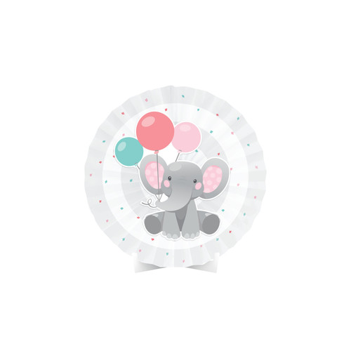 """Pack of 6 Pink and Gray Girl Enchant Elephant Party Table Centerpieces 16"""" - IMAGE 1"""