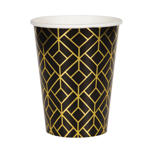 Club Pack of 96 Black Roaring 20s Disposable Paper Drinking Party Tumbler Cups 12 oz. - IMAGE 1
