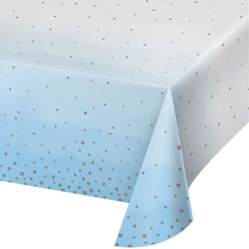 """Pack of 6 Blue and White Disposable Celebration Table Cloth 102"""" - IMAGE 1"""