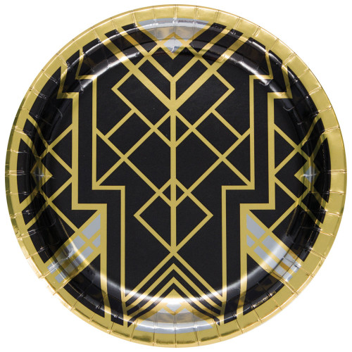 """Club Pack of 96 Black and Gold Roaring 20s Banquet Disposable Dinner Plates 10"""" - IMAGE 1"""