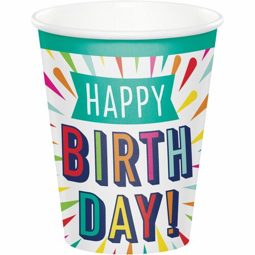 Club Pack of 96 White Birthday Burst Cups Disposable Paper Drinking Party Tumbler Cups 9 oz. - IMAGE 1