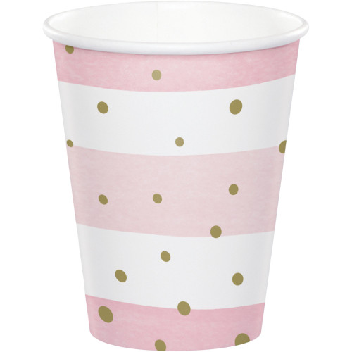Club Pack of 96 Pink and Gold Disposable Paper Drinking Party Tumbler Cups 9 oz. - IMAGE 1