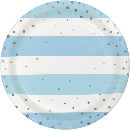 """Club Pack of 96 Blue and Silver Disposable Striped Foil Round Paper Luncheon Plates 7"""" - IMAGE 1"""