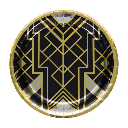 """Club Pack of 96 Black and Gold Disposable Roaring 20s Foil Round Paper Dinner Plates 9"""" - IMAGE 1"""