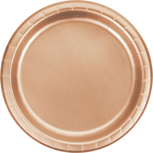 """Club Pack of 96 Rose Gold Disposable Solid Foil Round Paper Dinner Plates 9"""" - IMAGE 1"""