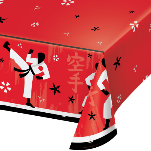 """Pack of 6 Red and Black Disposable Karate Party Table Cloth 102"""" - IMAGE 1"""