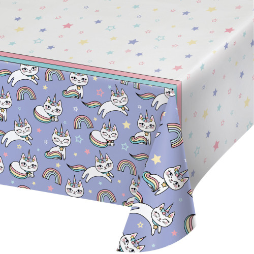 """Pack of 6 White and Purple Disposable Sassy Caticorn Table Cloth 102"""" - IMAGE 1"""