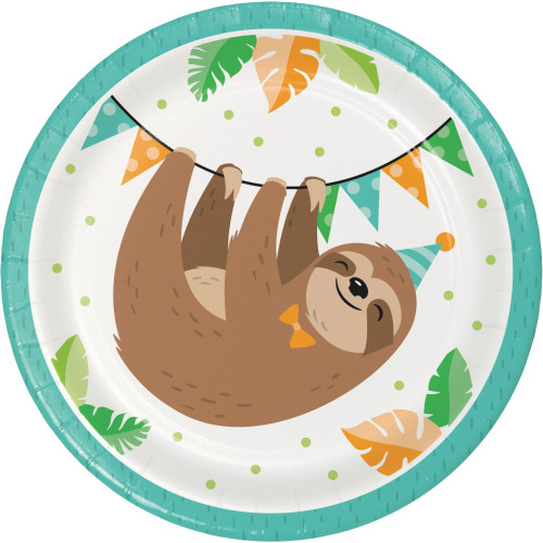 """Club Pack of 96 Brown and Green Sloth Party Desert Plates 7"""" - IMAGE 1"""