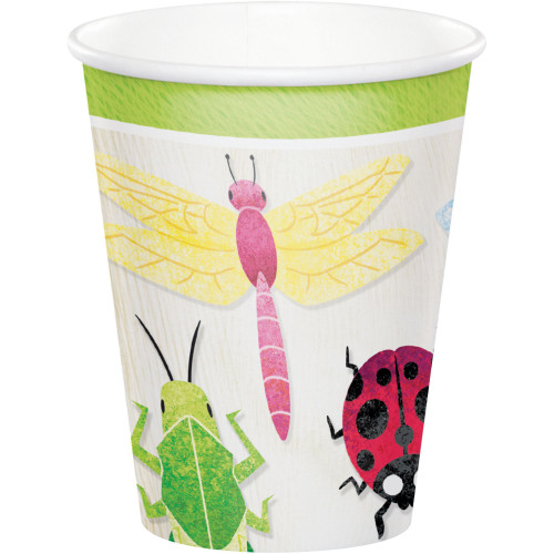 Club Pack of 96 White Birthday Bugs Cups Disposable Paper Drinking Party Tumbler Cups 9 oz. - IMAGE 1