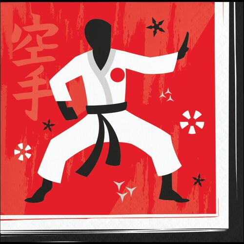 """Club Pack of 192 Red and White 2 Ply Karate Party Disposable Napkins 5"""" - IMAGE 1"""