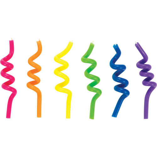 """Club Pack of 72 Blue and Yellow Neon Crazy Curl Candles 3.5"""" - IMAGE 1"""