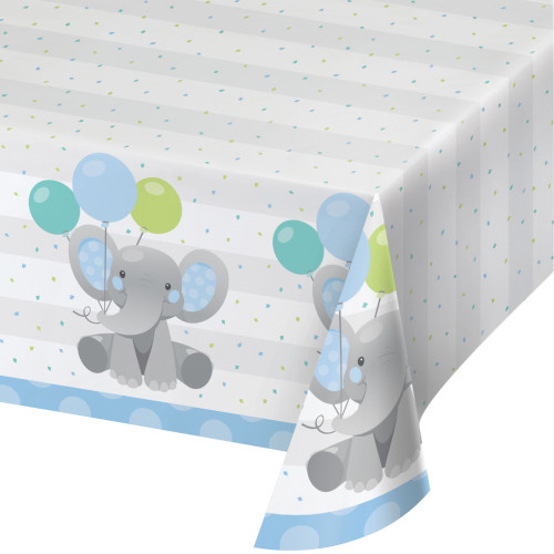 """Pack of 6 Blue and Gray Disposable Elephants Boy Table Cloth 102"""" - IMAGE 1"""