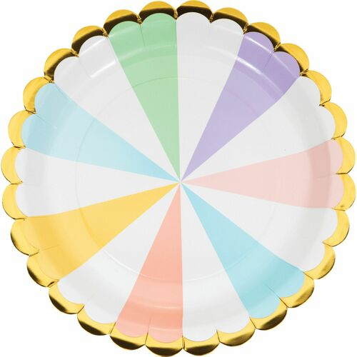 """Club Pack of 96 White and Yellow Pastel Celebrations Disposable Round Paper Luncheon Plates 9"""" - IMAGE 1"""