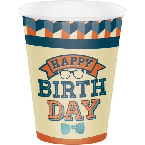 Club Pack of 96 Ivory and Orange Hipster Birthday Disposable Paper Drinking Party Tumbler Cups 12 oz. - IMAGE 1