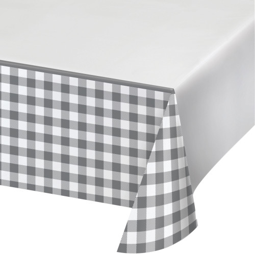 """Pack of 6 Gray and White Disposable Buffalo Check Table Cloth 102"""" - IMAGE 1"""