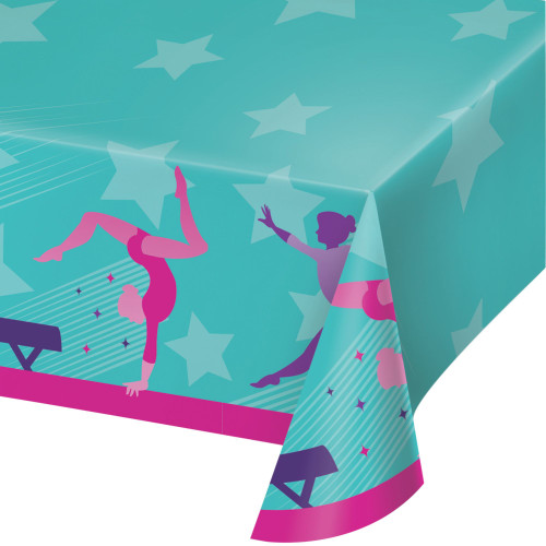 "Pack of 6 Green and Pink Disposable Gymnastics Party Table Cloth 102"" - IMAGE 1"
