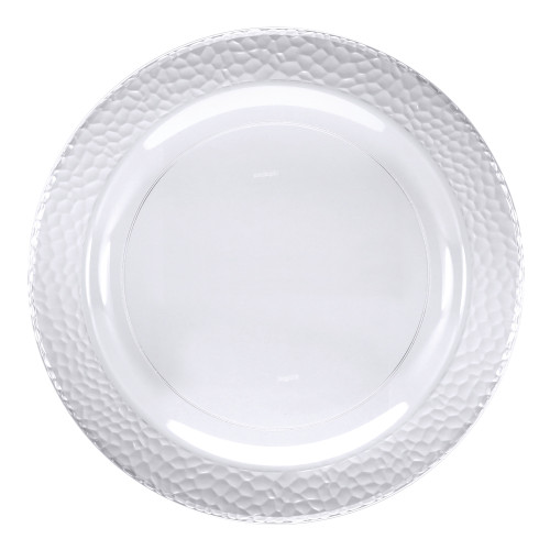 """Club Pack of 120 Clear Disposable Hammered Rim Pebble Round Plastic Luncheon Plates 7"""" - IMAGE 1"""