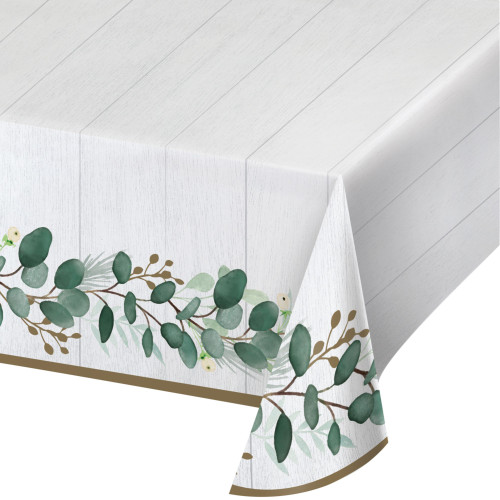 """Pack of 6 White and Green Disposable Eucalyptus Table Cloth 102"""" - IMAGE 1"""