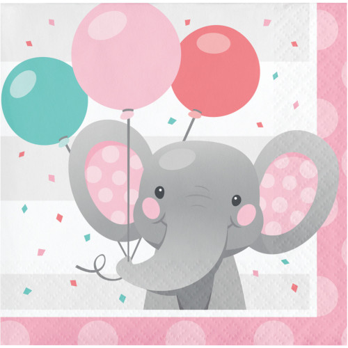 Club Pack of 192 Gray and Pink Girl Enchant Elephant 2-Ply Beverage Napkins - IMAGE 1