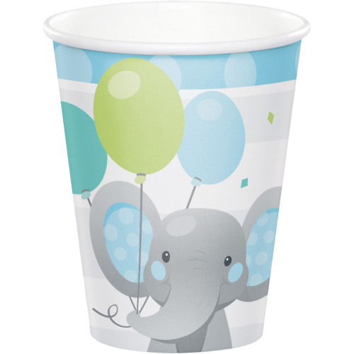 Club Pack of 96 White Enchanting Elephants Boy Cups Disposable Paper Drinking Party Tumbler Cups 9 oz. - IMAGE 1