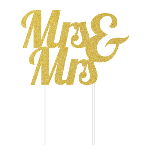 """Club Pack of 12 Gold and White Glitter Mr. and Mr. Cake Toppers 9.5"""" - IMAGE 1"""