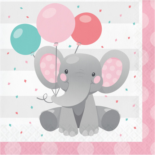 """Club Pack of 192 Gray and Pink Girl Enchant Elephant 2-Ply Luncheon Napkins 6.5"""" - IMAGE 1"""