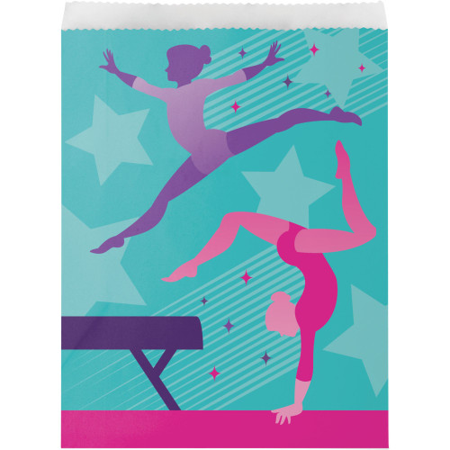 """Club Pack of 96 Blue and Pink Gymnastics Party Treat Bags 8.75"""" - IMAGE 1"""