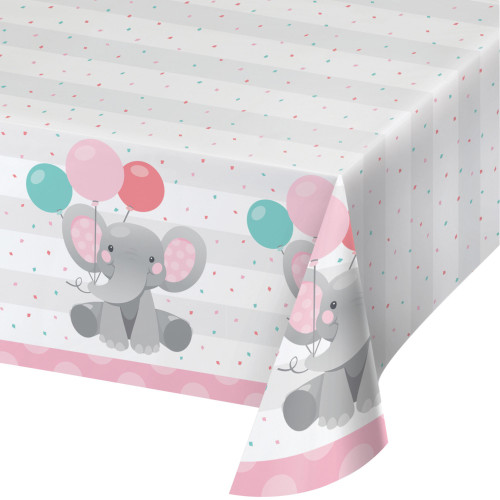 "Pack of 6 Pink and Gray Disposable Elephants Girl Table Cloth 102"" - IMAGE 1"