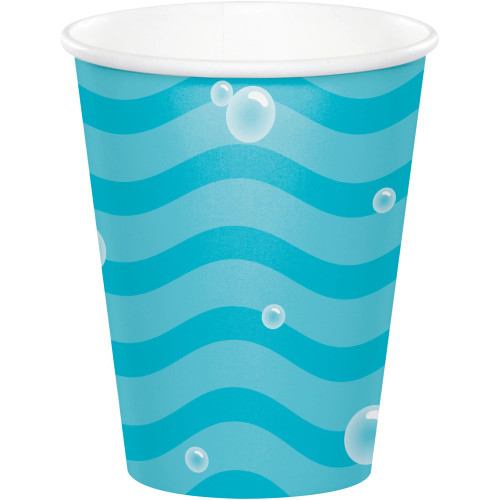 Club Pack of 96 Blue and White Narwhal Disposable Cups 9 oz. - IMAGE 1