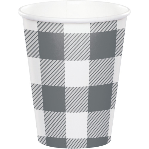 Club Pack of 96 Gray and White Buffalo Check Cups Disposable Paper Drinking Party Tumbler Cups 9 oz. - IMAGE 1