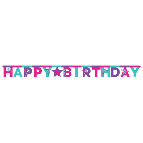 """Club Pack of 12 Pink and Blue Gymnastics Birthday Banners 120"""" - IMAGE 1"""