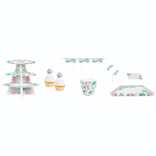 "Club Pack of 162 Floral Pink and White Birthday Treat Table Kit 108"" - IMAGE 1"