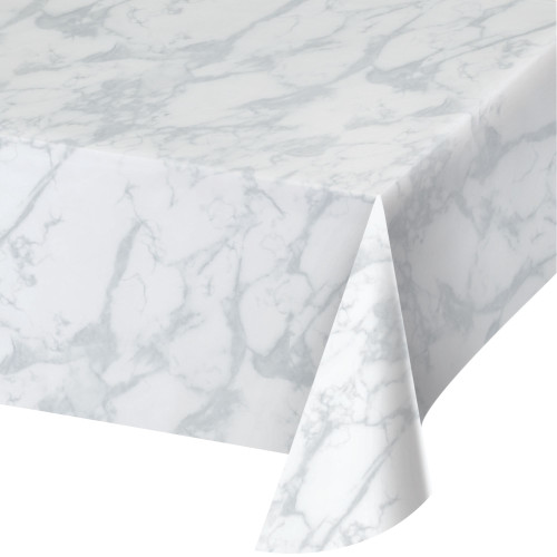"""Pack of 6 Gray and White Marble Party Tablecloths 54"""" x 108"""" - IMAGE 1"""
