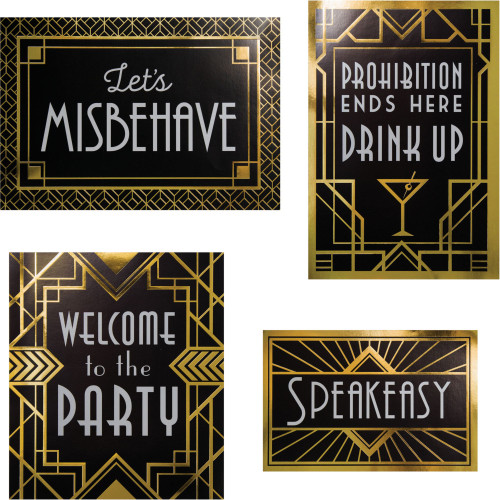 """Club Pack of 24 Black and Gold Roaring 20s Wall Signs Kit 13"""" - IMAGE 1"""