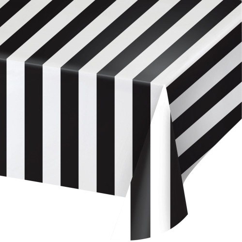 """Pack of 6 Black and White Striped Party Tablecloths 54"""" x 108"""" - IMAGE 1"""