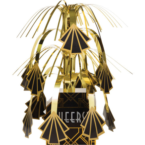 """Pack of 6 Gold and Black 1920's Roaring Centerpieces 10"""" - IMAGE 1"""