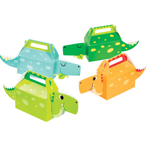 """Club Pack of 24 Green and Blue Boy Dinosaur Favor Boxes 12.5"""" - IMAGE 1"""