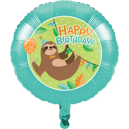 """Pack of 10 Teal Blue and Brown Metallic Sloth """"HAPPY BIRTHDAY!"""" Party Balloons - IMAGE 1"""