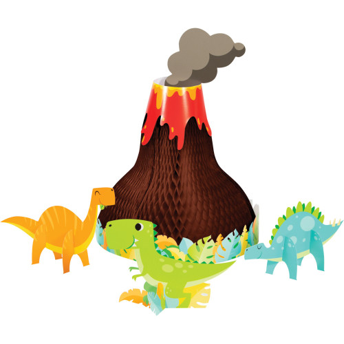 Pack of 4 Brown and Red Birthday Boy Dinosaur Party Centerpiece - IMAGE 1