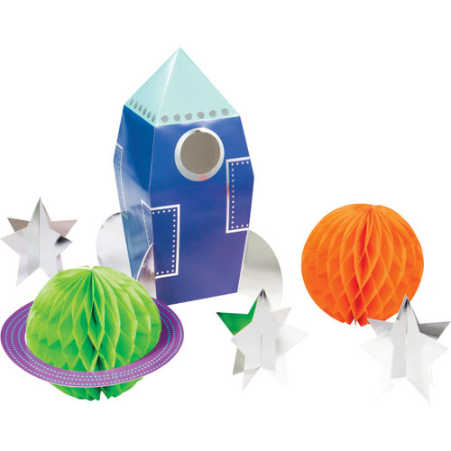 "Pack of 36 Orange and Blue 3D Space Party Centerpieces 11.25"" - IMAGE 1"