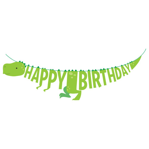 """Club Pack of 12 Green Happy Birthday Dinosaur Boy Party Banner 66"""" - IMAGE 1"""