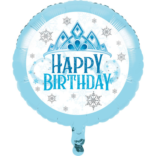 """Pack of 10 Blue and White Metallic Snowflakes """"HAPPY BIRTHDAY"""" Party Balloons - IMAGE 1"""