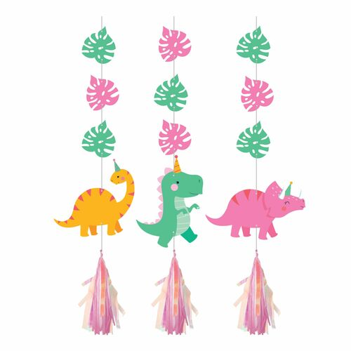 """Club Pack of 36 Pink and Green Irid Girl Dino Hanging Tissue Paper Fan Party Decorations 36"""" - IMAGE 1"""