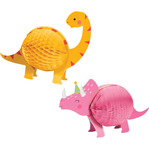"Pack of 12 Yellow and Pink Girl Dinosaur Party Table Centerpieces 12"" - IMAGE 1"