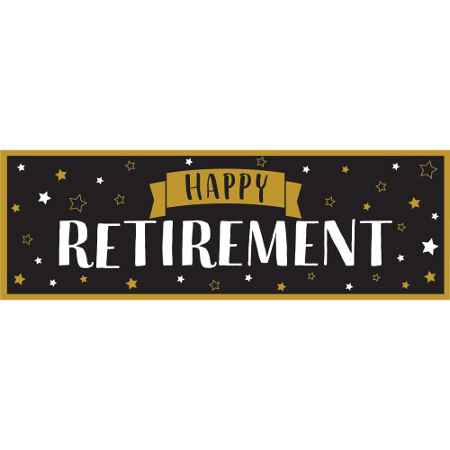"Pack of 6 Black and Gold ""HAPPY RETIREMENT"" Rectangular Party Banners 60"" - IMAGE 1"